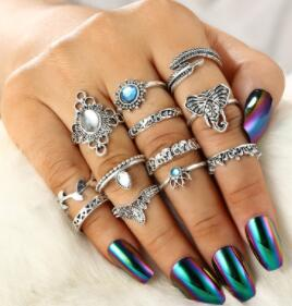 Vintage Silver Color Elephant Leaf Flower 11 Pcs Rings Set - bohemian earth
