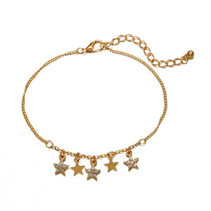 Bohemian Earth Crystal Star Black Beads Anklets - bohemian earth