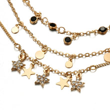 Load image into Gallery viewer, Bohemian Earth Crystal Star Black Beads Anklets - bohemian earth