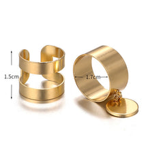 Load image into Gallery viewer, Boho hollow Out Round Coin Gold Color 2 pcs Ring Set - bohemian earth