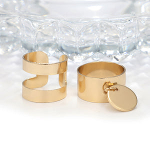 Boho hollow Out Round Coin Gold Color 2 pcs Ring Set - bohemian earth