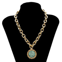 Load image into Gallery viewer, Vintage Green Stone Pendant Statement Necklace - bohemian earth