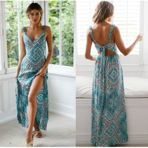 Bohemian Floral Print Backless Long Casual Dress - bohemian earth