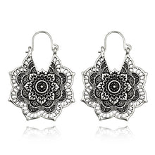 Load image into Gallery viewer, Vintage Antique Hollow Flower Metal Hoop Earrings - bohemian earth