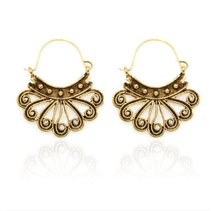 Vintage Antique Hollow Flower Metal Hoop Earrings - bohemian earth