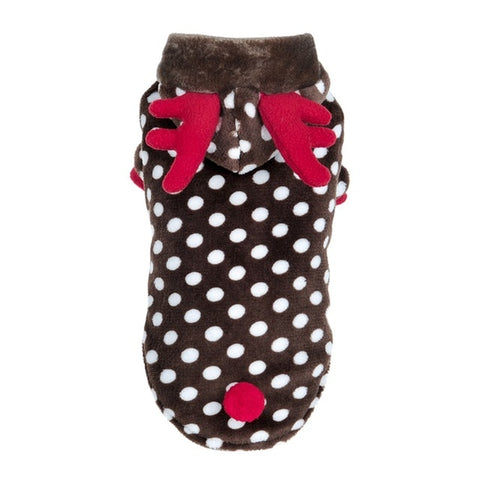 Polkadot reindeer hoodie for small cats and dogs