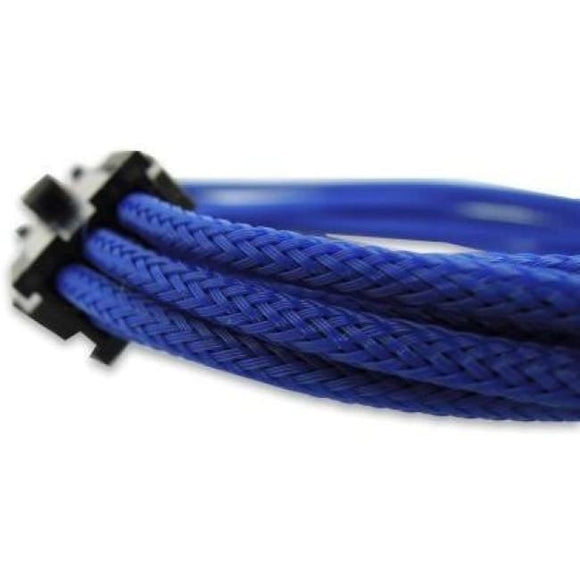 30Cm 6-Pin Pci-E Vga Sleeved Extension Braided Cable Blue - Sleeved Cable
