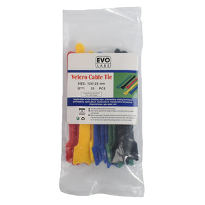 Multicolour Velcro Cable Ties 125 x 12mm 20 Pack