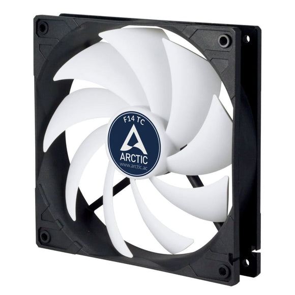 Arctic F14 Temperature Controlled 14Cm Pc Case Fan Black & White 9 Blades - Case Fan