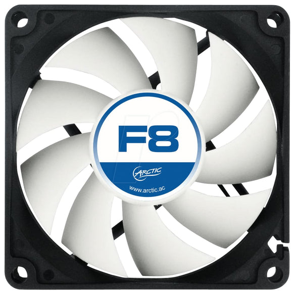 Arctic F8 8Cm Case Fan Black & White 9 Blades Fluid Dynamic - Case Fan