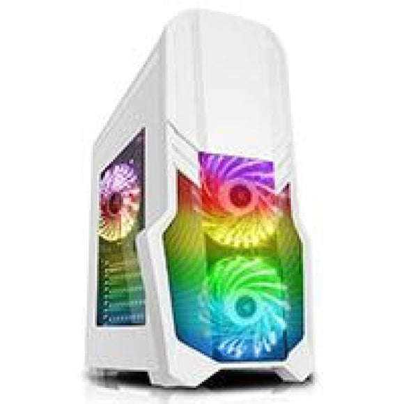 Cit G Force White Pc Gaming Case With 2 X Rgb Front 1 X Rear Fans & Remote