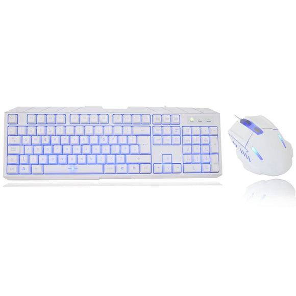 Cit Storm White Blue Led Backlit Usb Gaming Keyboard And Mouse Kit Set Combo - Keyboard
