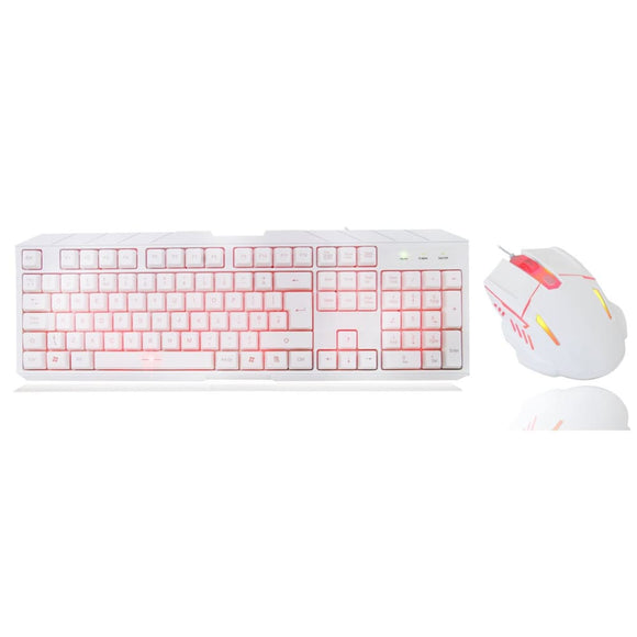Cit Storm White Red Backlit Keyboard And Mouse Kit With Red Led - Keyboard And Mouse Sets