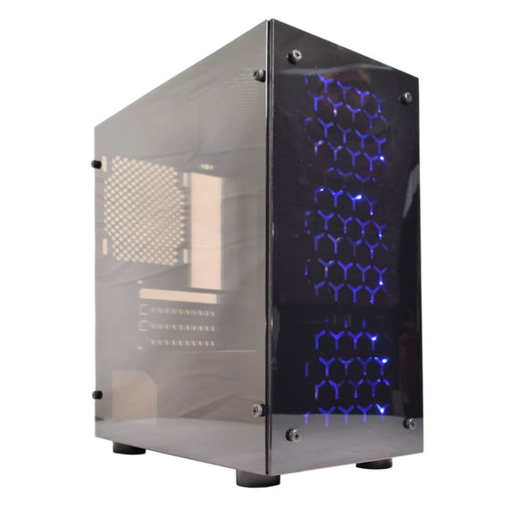Cronus V4 Micro Atx Tower Acrylic Side & Front Window Panel Black Case With Blue Led Fans - Micro Atx