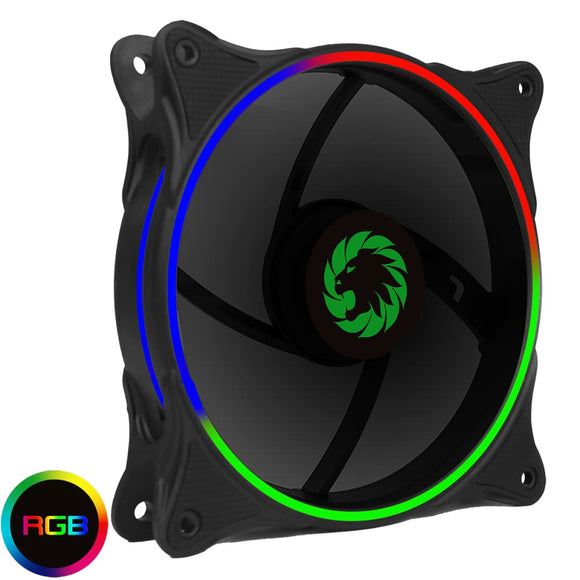 Cyclone Dual Ring Pc Fan Rgb Fan 4 Pin Header 3 Pin Power Black Gloss - Case Fan