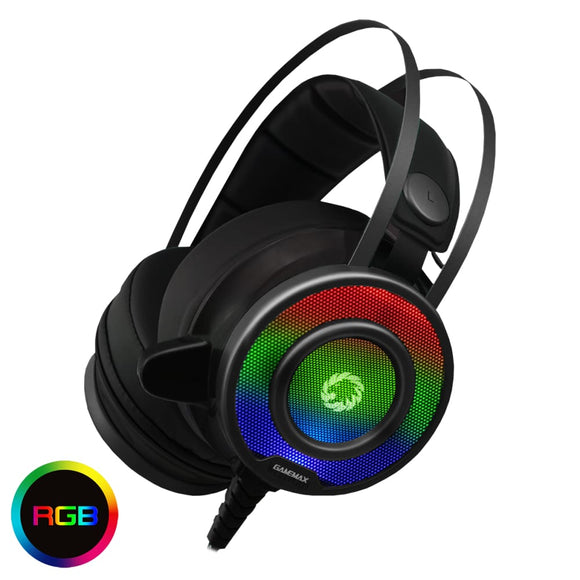 Game Max G200 7 Colour RGB LED PRO Gaming Headset Headphones Mic USB 3.5mm - Headphones
