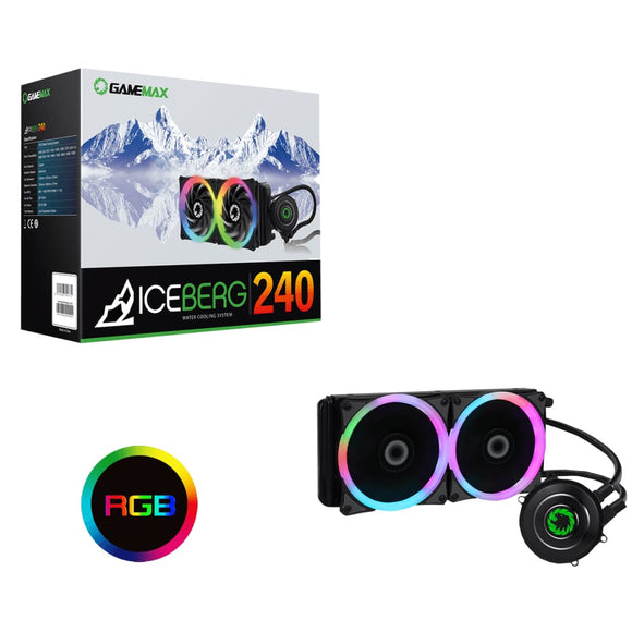 Iceberg 240Mm Water Cooling System With 7 Colour Pwm Fans - Water Cooling System