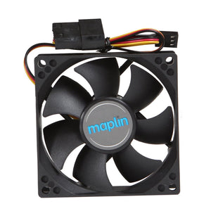 Maplin 8Cm 80Mm Black Pc Fan 3Pin+4Pin Male/female Connector - Case Fan