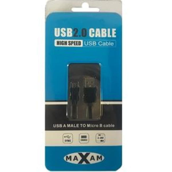 Maxam Usb Cable 2.0 Micro Data Cable 3 Metre - Usb Cable