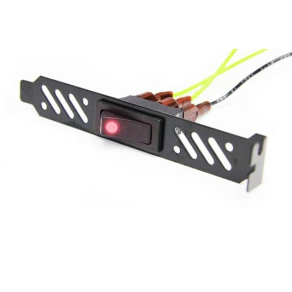 Modmytoys Premiun Black Vented Pci Bracket W/ Led Rocker Switch - Red - Fan Controller
