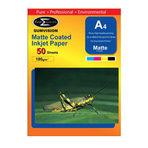 Sumvision Matte A4 Inkjet Photo Paper 180Gsm - 50 Sheets - Photo Paper