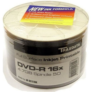 Traxdata White Full Face Printable 16X Dvd-R In 50 Pack - Blank Media