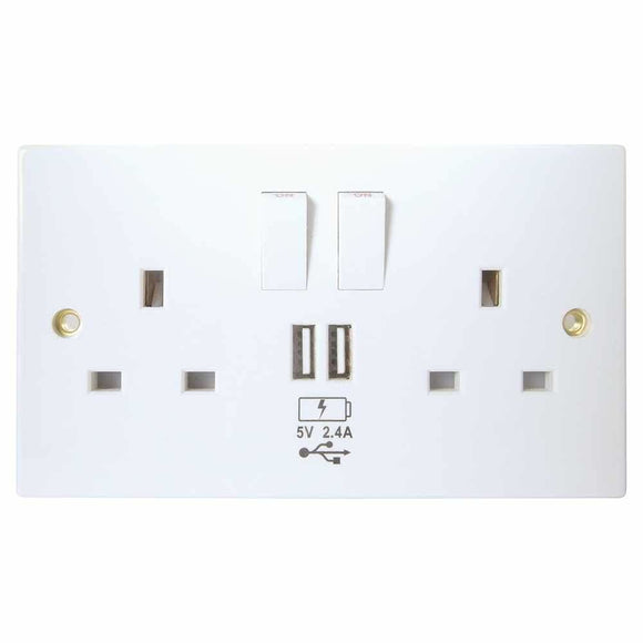 Usb Charging Wall Socket 2 X Type A Ports (2.4 Amp) - Wall Socket