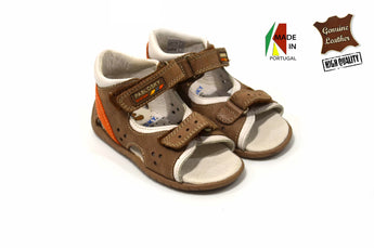 Kid's Grey/Green Sandals in Genuine Leather