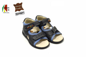 Kid's Blue Sandals in Genuine Leather