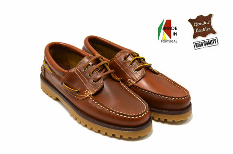 Men's Fashion Cognac Boat Shoe in Genuine Leather Made in Portugal