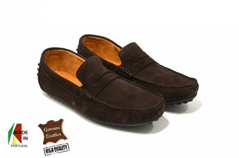 Men's Brown Moccasins in Genuine Leather Made in Portugal