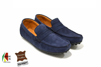 Men's Blue Moccasins in Genuine Leather Made in Portugal