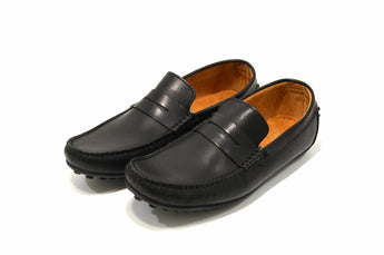 Men's Black Moccasins in Genuine Leather Made in Portugal