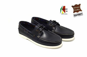 Men's Blue Sail Shoes in Genuine Leather Made in Portugal