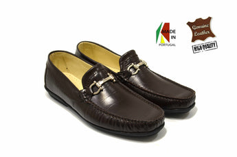 Men's Fashion Brown Moccasins in Genuine Leather Made in Portugal