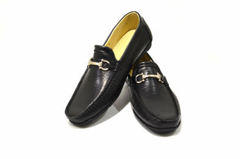 Men's Fashion Black Moccasins in Genuine Leather Made in Portugal