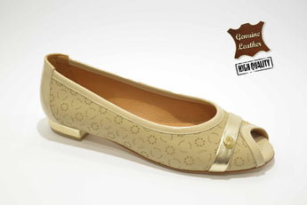 Women's Beige Embossed Leather Shoe with Flat Heel