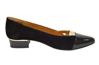 Women's Black Patent and Suede Shoe with Low Heel