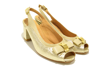 Women's Beige and Embossed Leather Sandal with Mid Heel Open Toe