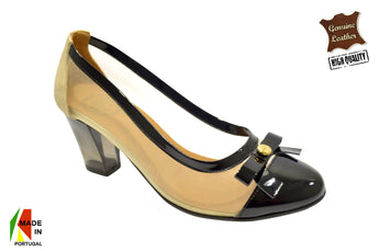 Women's Black Leather and Printed Material Shoe with Mid Heel