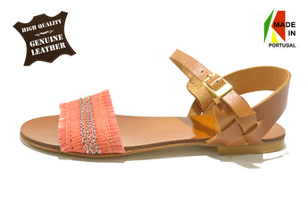 Women's Coral Leather and Textile Sandal with Flat Heel