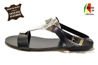 Women's Black and Silver Leather Sandal with Flat Heel