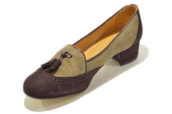 Women´s Brown Suede Classic Leather Shoes with Low Heel