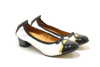 Women's White Patent and Leather Shoe with Mid Heel
