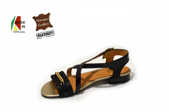 Women's Black Patent Sandal with Flat Heel