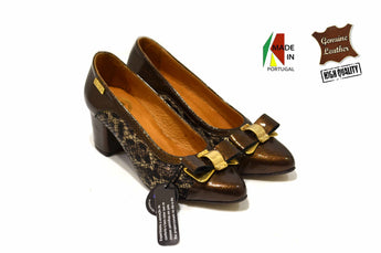 Women's Brown Leather and Printed Material Shoe with Mid Heel
