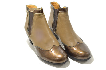 Women´s Beige/Golden Patent and Leather Ankle-boot with Mid Heel