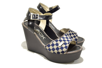 Women's Blue Leather Sandal with Wedge