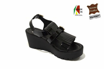 Women's Black Leather Sandals with Wedge and Plataform