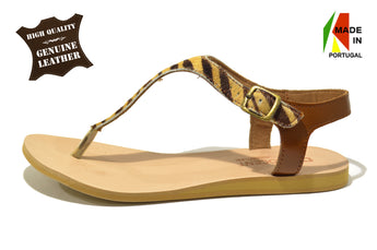 Women's Tiger Printed Leather Sandals Flat Heel